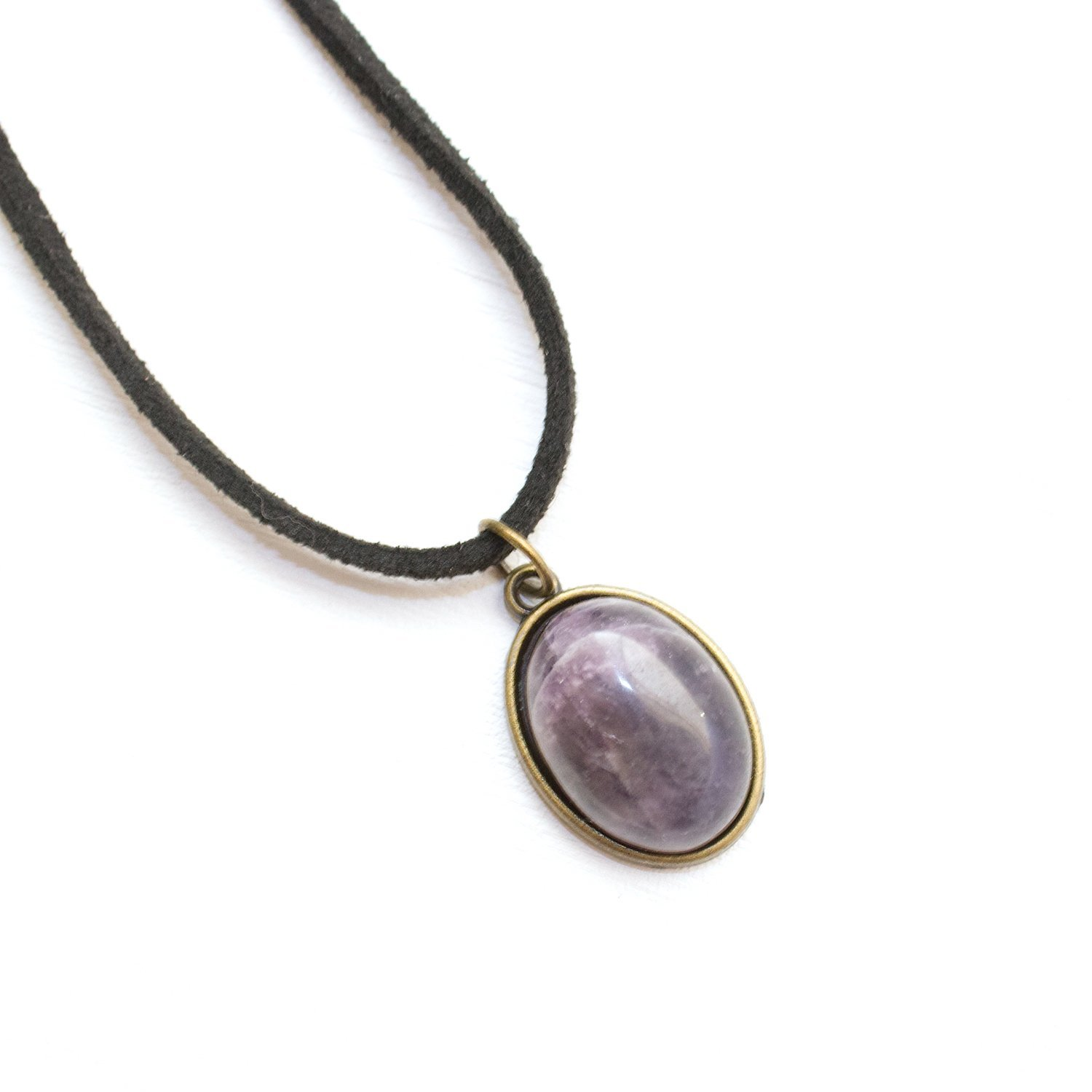 Black Vegan Leather Suede Choker Amethyst Choker Necklace High Quality Amethyst Gemstone Jewelry Handmade in the US