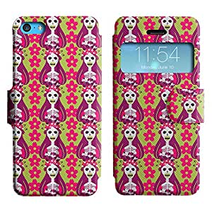 LEOCASE Cráneo y esqueletos Funda Carcasa Cuero Tapa Case Para Apple iPhone 5C No.1001953