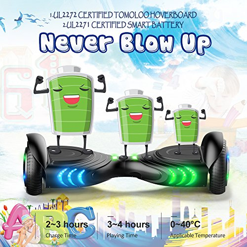 TOMOLOO Hoverboard with Bluetooth Speaker and Colorful LED Lights Self-Balancing Scooter UL2272 Certified 6.5