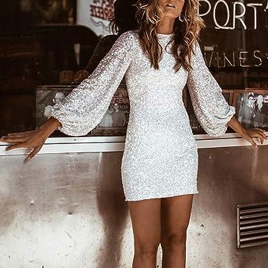 Zimuuy damska sukienka sexy O Neck chłopcy i piękne cekiny mini sukienka na imprezę koktajl sukienka wieczorowa: Odzież