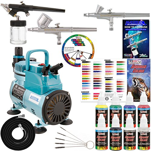 (3 Master Airbrush Professional Acrylic Paint Airbrushing System Kit with Powerful Cool Running Air Compressor - 6 U.S. Art Supply Primary Opaque Paint Colors Set - Gravity and Siphon Feed)