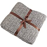 MARQUESS 100% Cotton Knit Throw Ultra Soft Warm Sleeping Cover Blanket Rug for Bedroom Sofa Office and Living Room (47x71'' Grey)