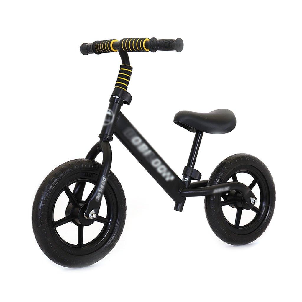 子供のスクーターペダルがない場合バギーのベビースクーターバランスの車は子供のダブルホイール自転車を膨張させる必要はありません子供のスクーター2ラウンドウォーカー12インチ2歳から6歳 B07F59Z3YB Black Black