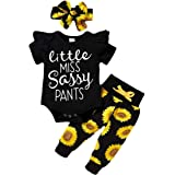 Infant Baby Girl Sunflower Little Miss Sassy Pant Outfits Short Sleeve Romper Headband