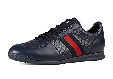 1512df010 Gucci Men's 'SL 73' Guccissima Leather with Web Detail Sneaker, Blue 233334  (