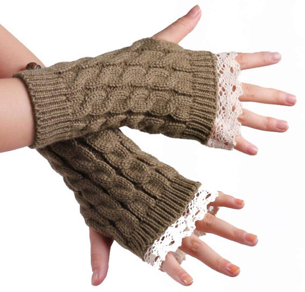 1Pair Stylish Lace Edge Knitted Winter Warm Fingerless Short Gloves- Soft Elastic Stretch Thumb Hole Short Mittens Arm Sleeves for Women Lady Girls (Khaki) Elandy