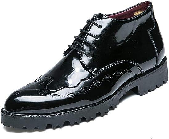 Jingkeke Vestido de Negocios for Hombre Botines Oxford for Hombre Zapatos Derby de Trabajo con Cordones Ocasionales Cuero sintético de Patente Tallado en Relieve Suela Exterior Llamativo Moda: Amazon.es: Hogar