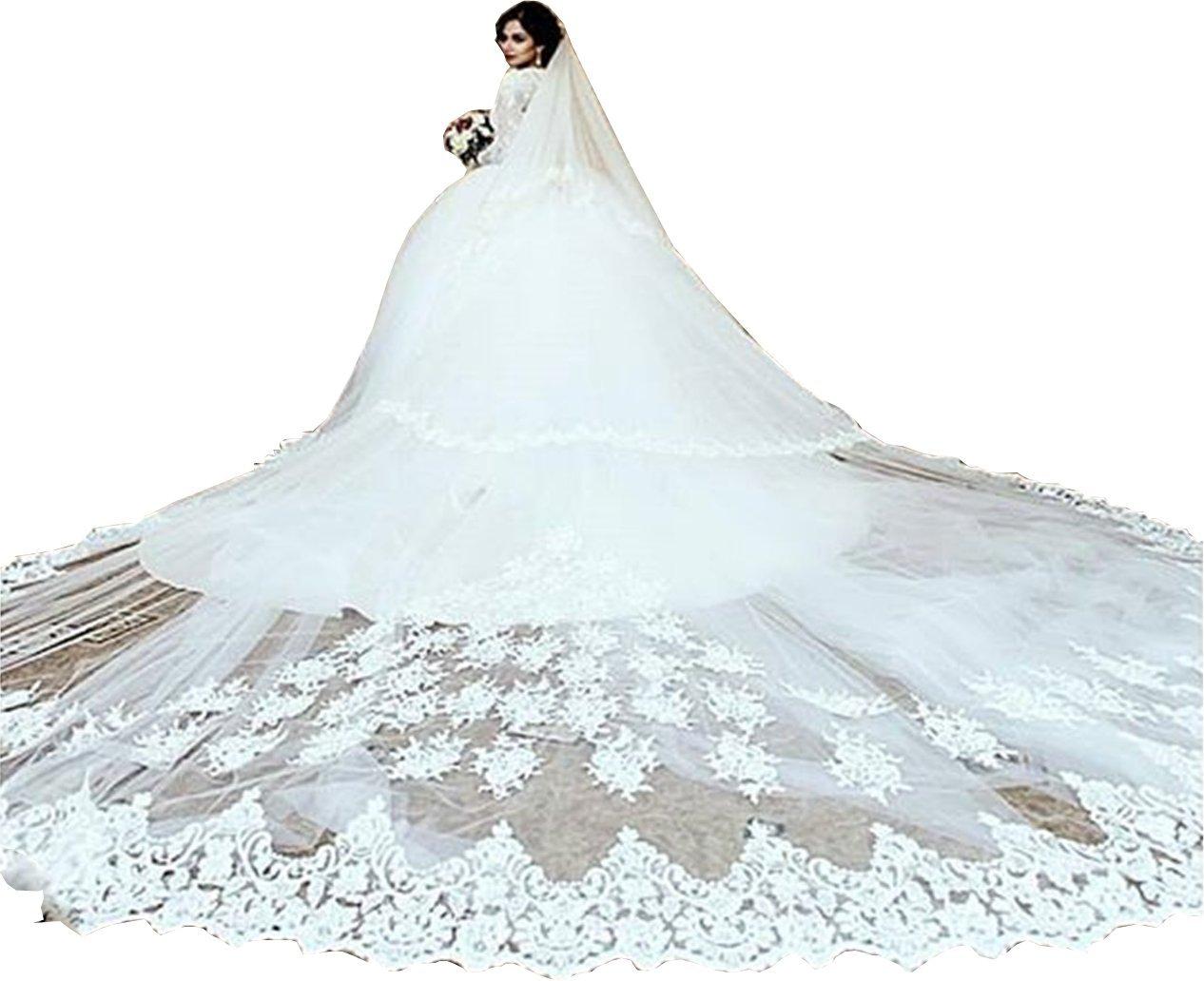 Newdeve 5M 2T Ivory White Lace Edge Cathedral Blusher Wedding Veils