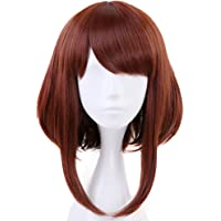 Anogol Hair Cap+Brown Wigs Bob Synthetic Hair Cosplay Wig Short Wavy For Anime Makeup