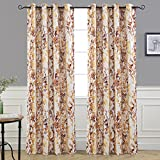 yellow insulated grommet curtains - DriftAway Leah Abstract Floral Blossom Ink Painting Room Darkening/Thermal Insulated Grommet Unlined Window Curtains, Set of Two Panels, each size 52