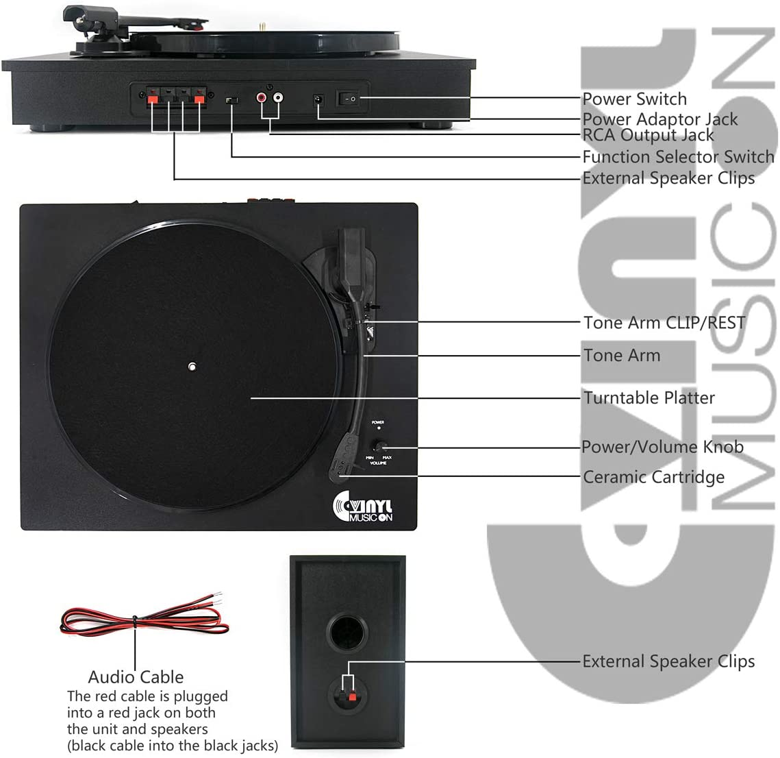 Bluetooth Vinyl Record Player with Powerful External Speakers, Nostalgic Turntable for 33 45 RPM Record with Adjustable Counter Weight,Wireless Connection