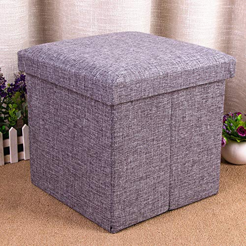 didit_ac 1Pc Folding Storage Seat Stool Cube Easy Clean Modern Strong Bearing Toy Box Padded (Choose Color) (Grey)