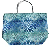 Metallic Handle Ombre Scale Tote Bag, Aqua, 22'' x 15''