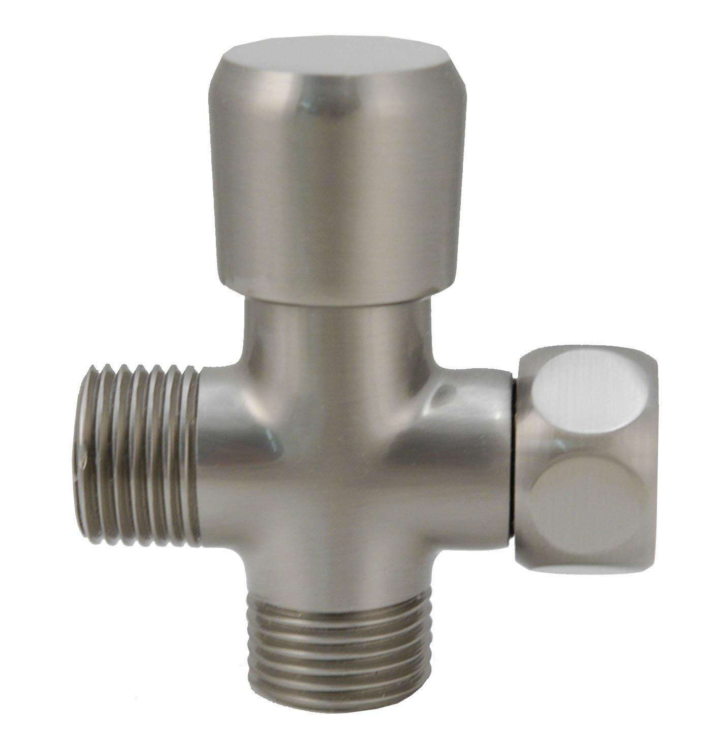 Shower Flow Diverter, Made of Solid BRASS with BRASS Handle - By Plumb USA … (Satin Nickel)