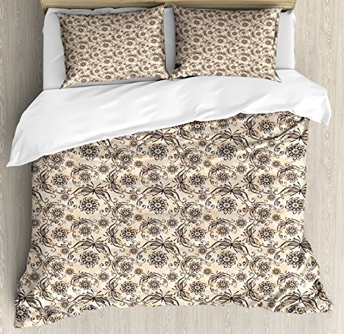 Vintage King Size Duvet Cover Set by Ambesonne, Nature Composition with Ornamental Lines Swirls Circles Abstract Flora and Fauna, Decorative 3 Piece Bedding Set with 2 Pillow Shams, Beige (Flora Swirl)