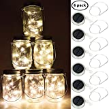 Solar Mason Jar Lights, BizoeRade Dual Row Solar Powered 10 LED Fairy Firefly String Lights(6 Pack Lid Lights and 6 Hangers Included),Fit Regular Mouth Mason Jars for Outdoor Decoration -Warm White(NOT included Jars)