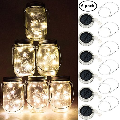 BizoeRade Solar Mason Jar Lights, Dual Row Solar Powered 10 LED Fairy Firefly String Lights(6 Pack Lid Lights and 6 Hangers Included),Fit Regular Mouth Mason Jars for Outdoor Decoration -Warm White