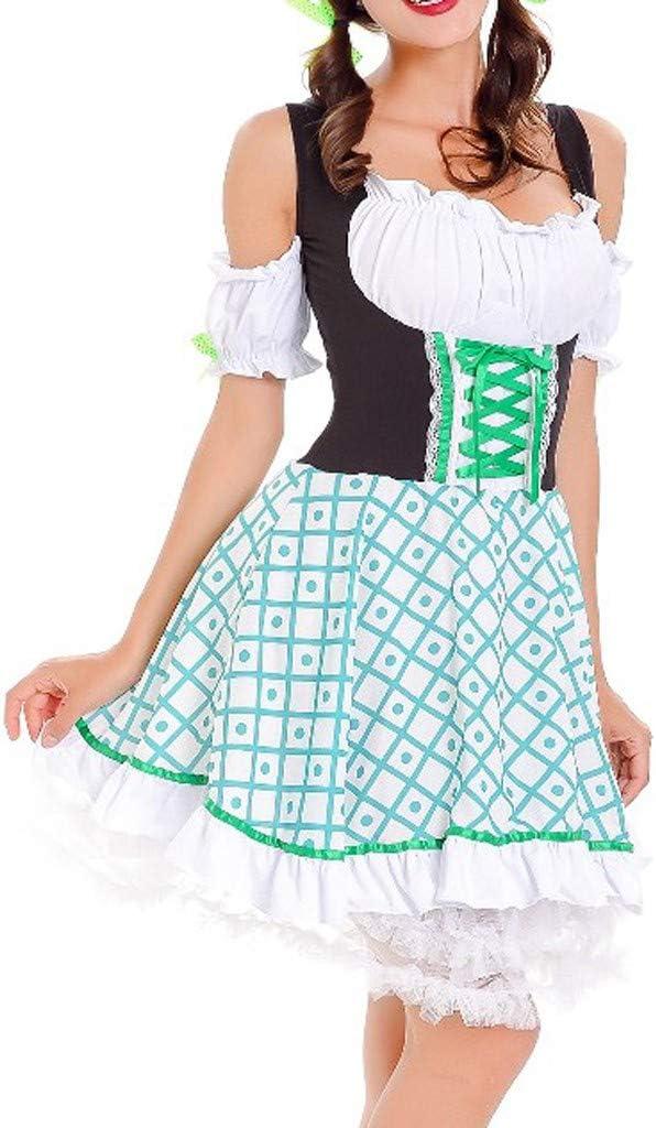 SMILEQ Vestido de Mujer Vintage Beer Festival bávara de Manga Corta Cosplay Vestido de Traje Oktoberfest
