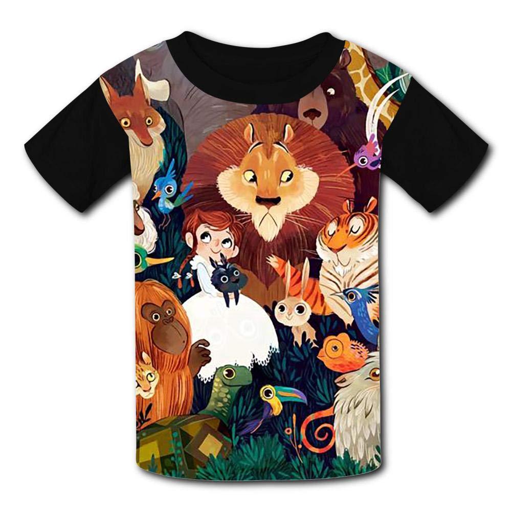 294120f4 Amazon.com: Zoo Animal Family Children's Summer Short Sleeve Printing T- Shirts: Clothing