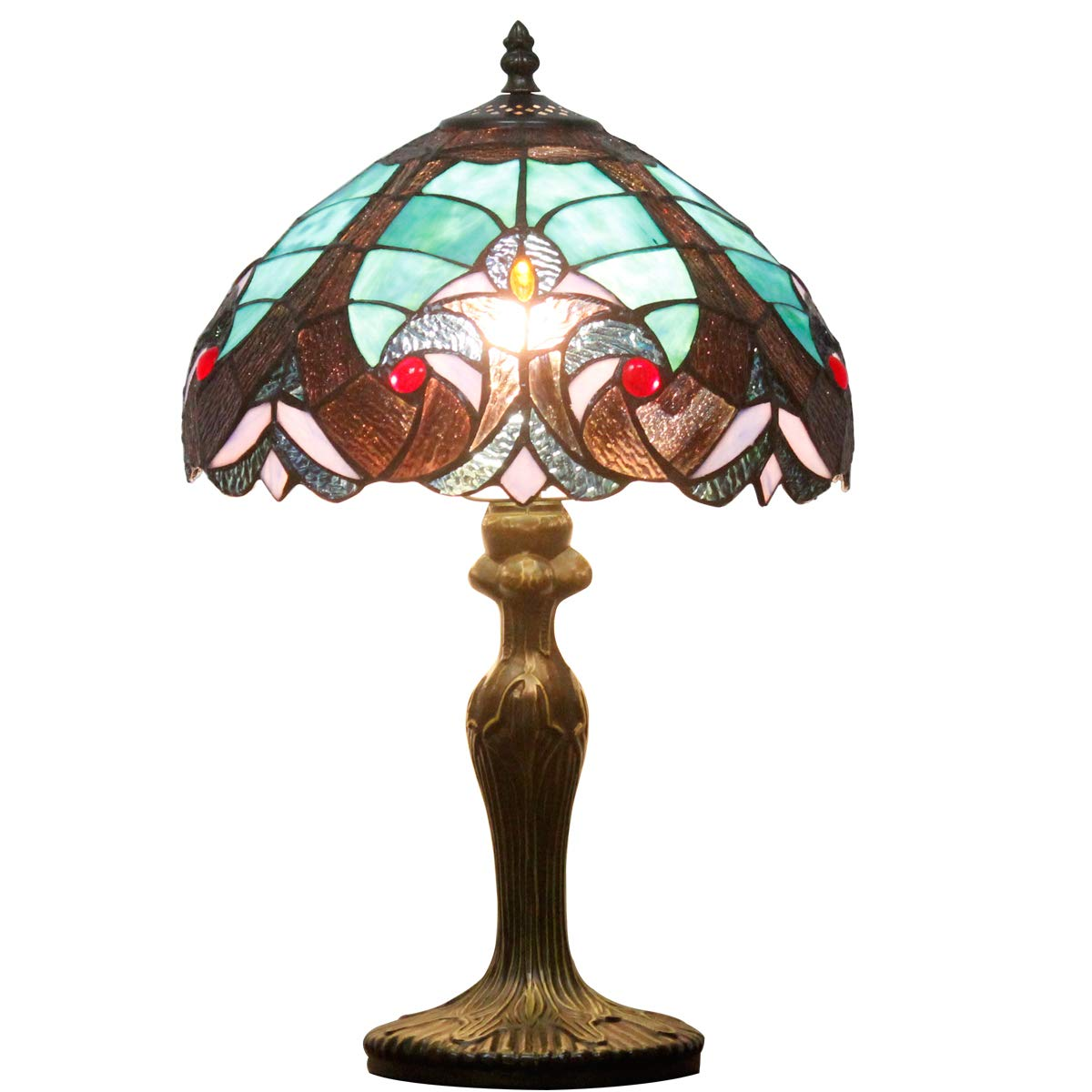 Tiffany style table lamp light S160G series 18 inch tall green LIAISON shade E26