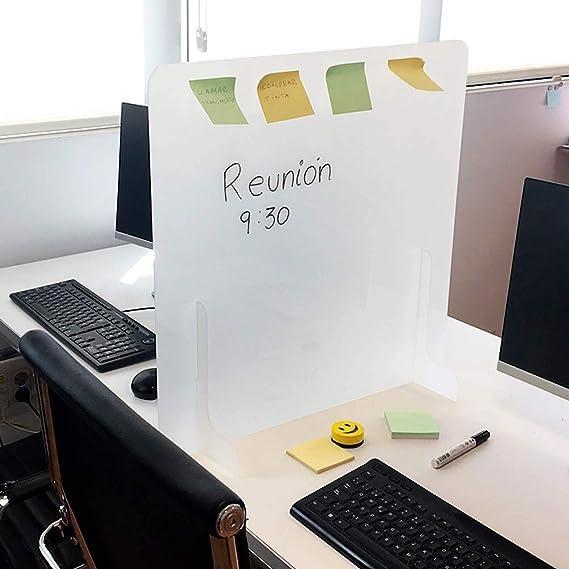 Mampara protectora metacrilato color blanco uso como pizarra rotulador. Pantalla de protección mostrador semitransparente, hoteles, mesas oficinas, puestos de trabajo, comercios. (50 x 65 cm): Amazon.es: Oficina y papelería