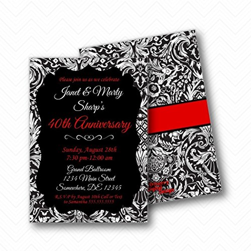 Black Red White Formal 40th Anniversary Party Invitations | Envelopes Included ()