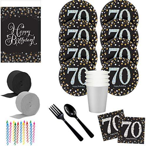 Costume SuperCenter Sparkling Celebration 70th Birthday Deluxe Tableware Kit (Serves 8)