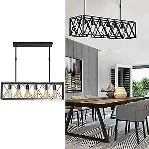 CMNNQ Retro Kitchen Island Pendant Light, Modern Industrial Ceiling Lighting Fixture, 6-Lights Metal Frame Shade Black Painted Finish Without Bulb (6-Light)