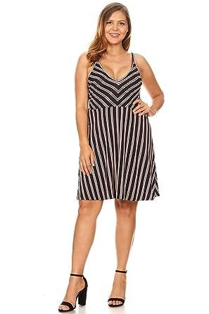 1fef5c12c7b Vibe Sportswear Plus Size Striped Skater Dress