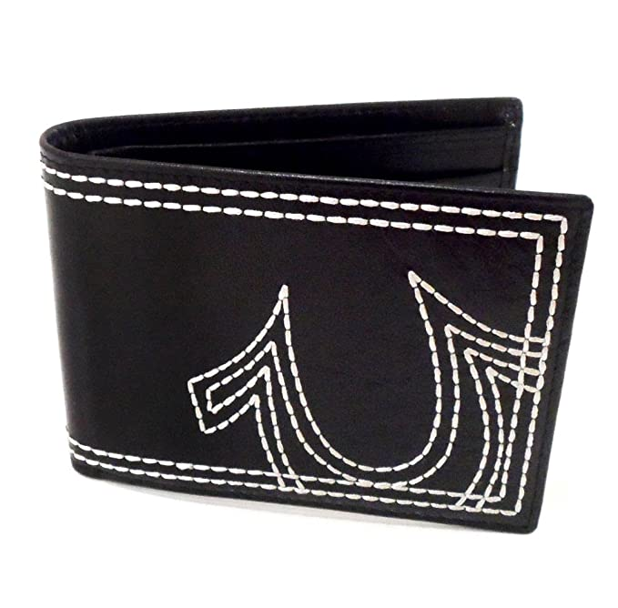 True Religion Mens Embroidered Leather Bifold Wallet In Black