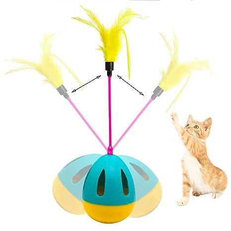 Entretenida pelota de juguete divertida,Juguete interactivo para gatos Juguete para gatos con plumas