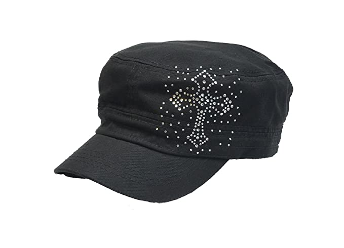 02071d315ea Image Unavailable. Image not available for. Color  Vintage Crystal Cross Black  Hat Cap Cadet ...