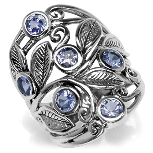 1.5ct. Genuine Tanzanite 925 Sterling Silver Filigree Leaf Ring Size 10 ()