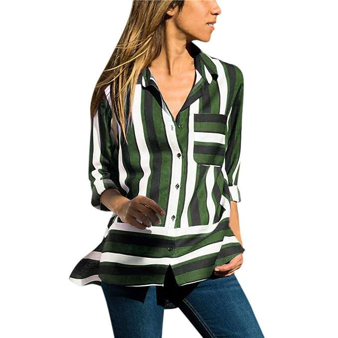 5d04f809e1d13 Witspace Women s Chiffon Striped T-Shirt Print Long Sleeve Top Shirt Blouse  AG S