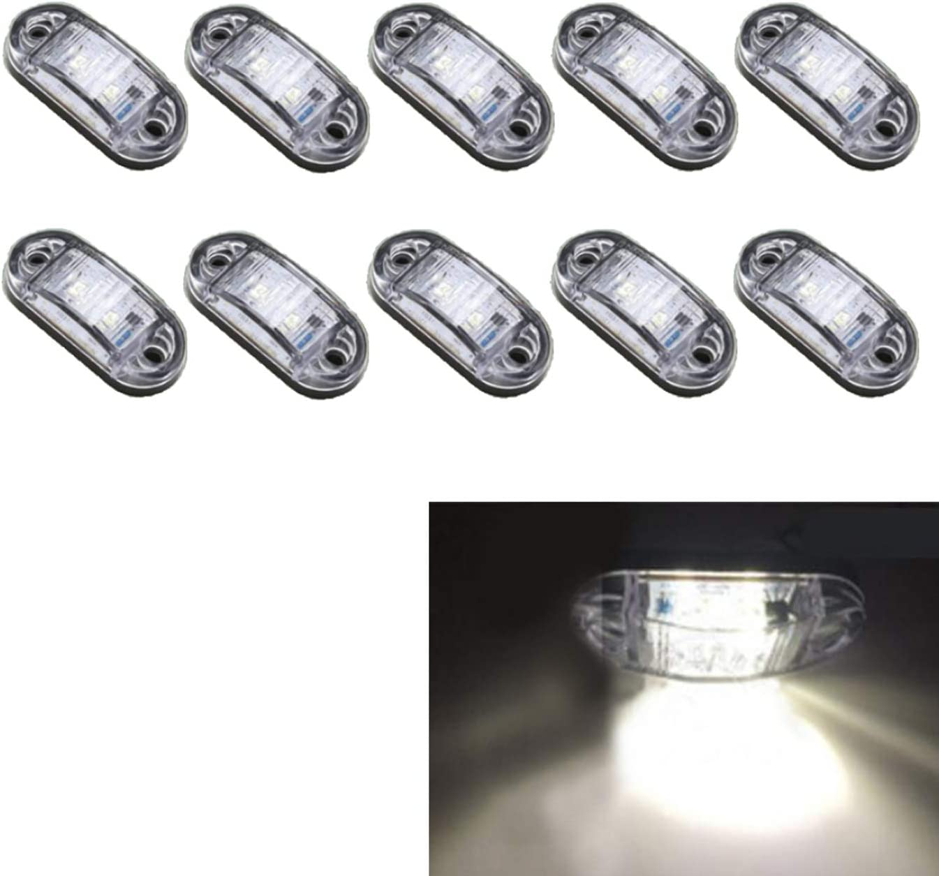 MuChangZi 10pcs LED Side Marker Light Despeje la lámpara 12V 24V Car Truck Trailer Bus Luz Trasera Luces de estacionamiento (Blanco)