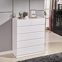 High Gloss Piano Finish Tallboy Cabinet with 6 Drawers White