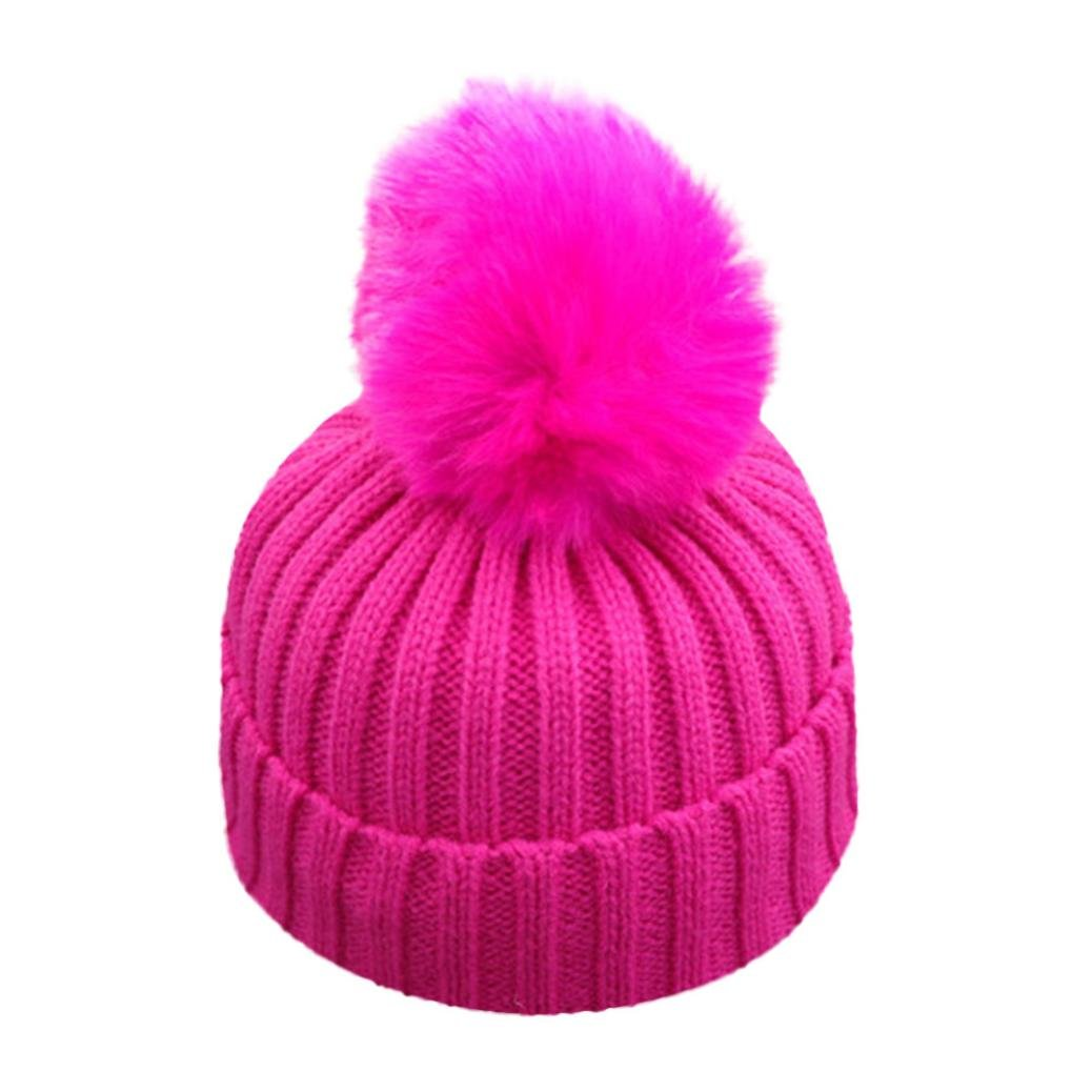 VENMO Bebé Niños niñas Invierno Gorro de Punto Caliente Beanie Sombreros de  Bolas (Rosa Caliente 5192b3f6b5c