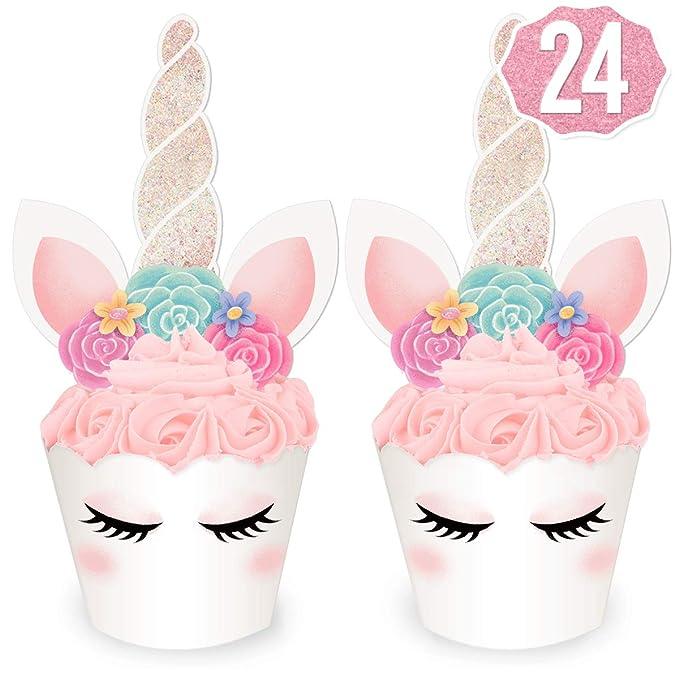 xo, Fetti Unicornio Glitter Cupcake Toppers + Wrappers ...