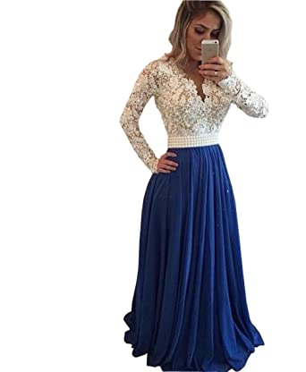 Fanny Womens Illusion Long Sleeve Prom Dresses Lace Pearls V-Neck Zipper Chiffon Evening Dress