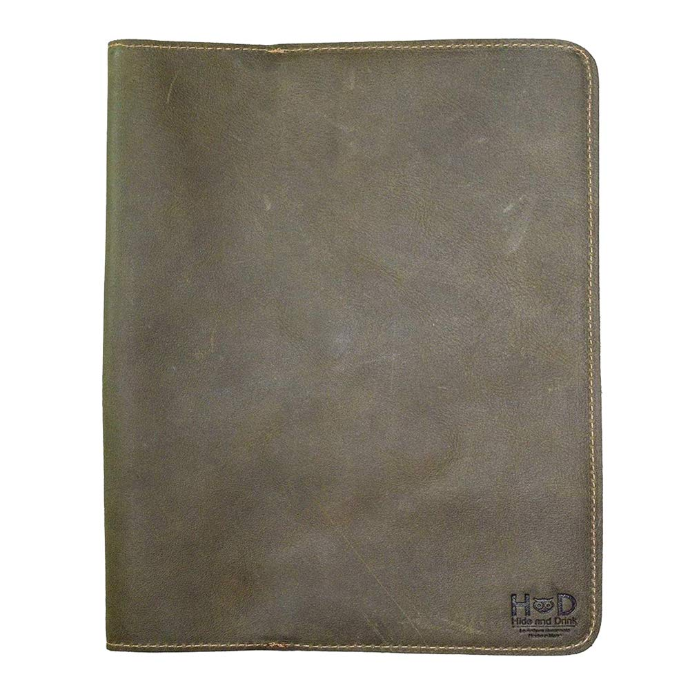 Hide & Drink, Rustic Leather Refillable Journal Cover for Moleskine Cahier XL (7.5 x 9.75 in.) Handmade Includes 101 Year Warranty :: Dark Jade
