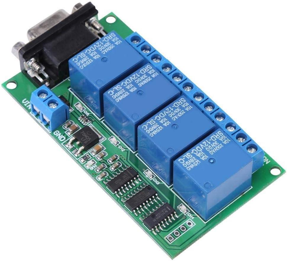 Maxmartt 12V 4Ch DB9 RS232 Relay Board Remote Control UART Serial Port Switch for Car Motor