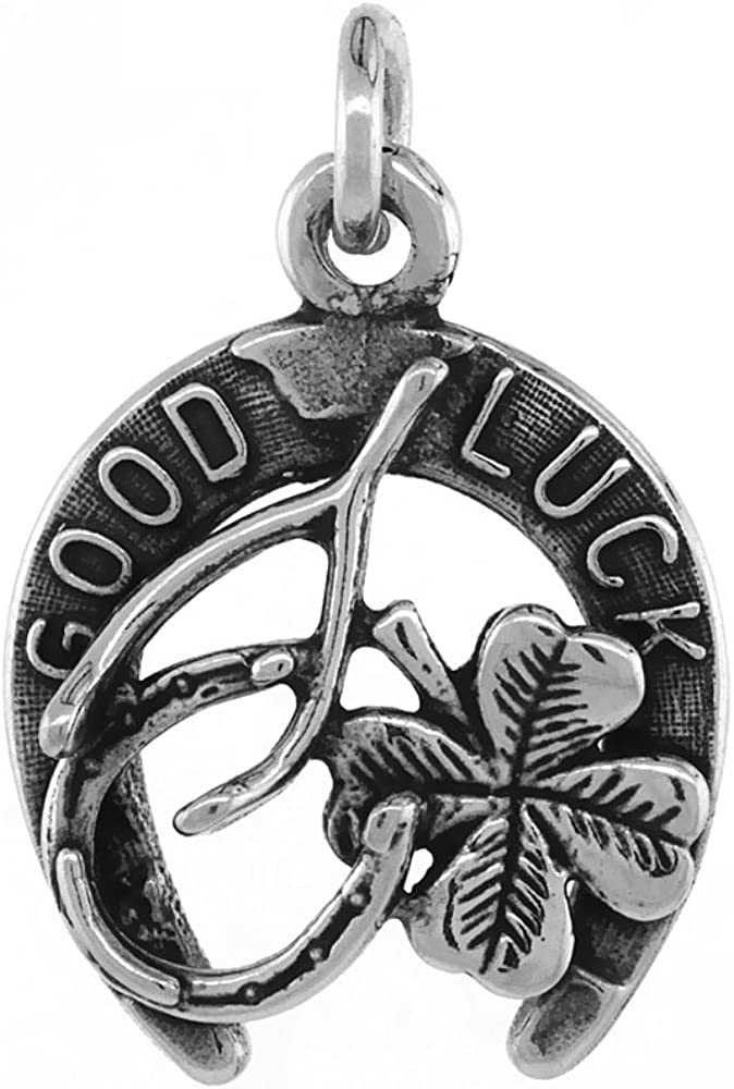Sabrina Silver Irish Lucky Charm Necklace Horseshoe Clover Wishbone Antiqued Finish 3/4 inch, 16-30 inch 0.8mm Box Chain