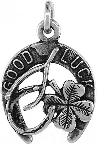 Pendant Horse Shoe Charm Antique Silver 4 Leaf Clover Lucky Game