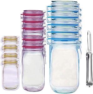 20 Pack Mason Jar Bottles Bags Reusable Zip Lock Snack Bag Food Saver Storage Bags Airtight Seal Food Lock Bags for Travel Camping