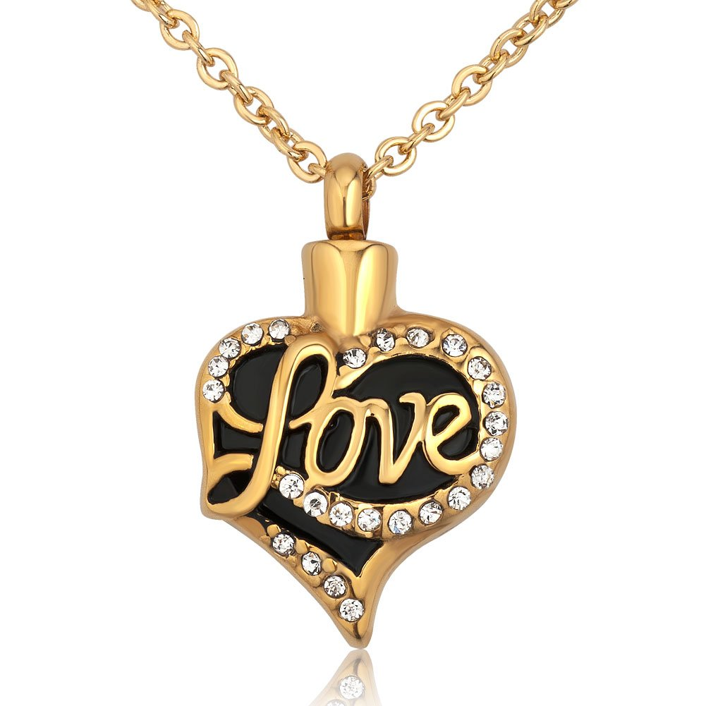 Charmed Craft Stainless Steel Gold Plated Heart Love Urn Necklace For Ashes Memory Cremation Pendant