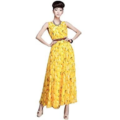 71c8b3fc53d Zehui Women s Boho Fruit Print Sleeveless Chiffon Party Dress With Belt  Beach Sundress UK10