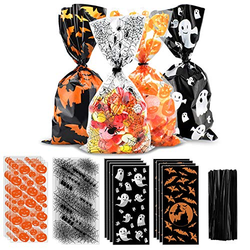 ERKOON 200 Pieces Halloween Candy Bags Pumpkin Spider Web Bat Ghost Print Candy Bags Halloween Treat Candy Twist Ties Gift Bags Kids Candy Bags for Halloween Party