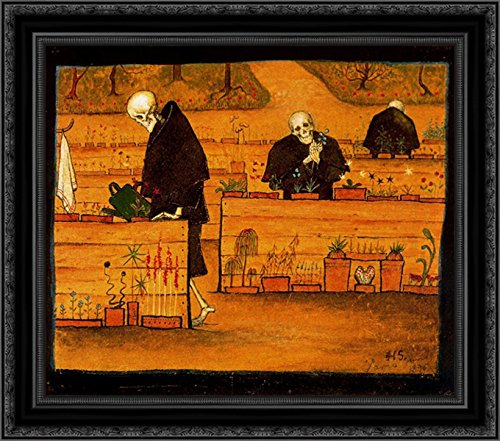 The Garden of the Dead 24x20 Black Ornate Wood Framed Canvas Art by Hugo (Hugo Framed)
