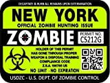 "ProSticker 1242 (TWO pack) 3""x 4"" Zombie Series New York Hunting License Permit Decal Sticker"