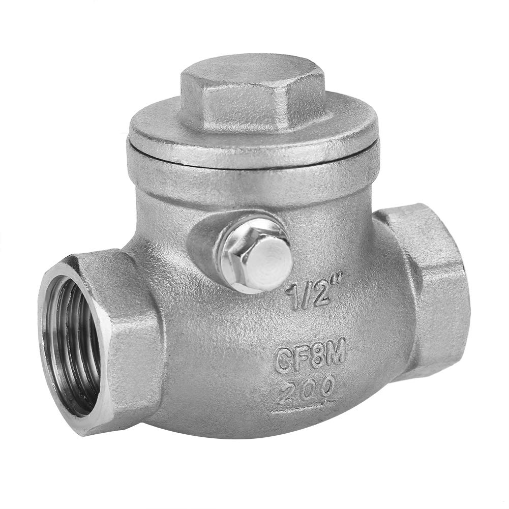 Swing Check Valve,1//2 DN15 Stainless Steel One Way Swing Check Valve Female Thread WOG 200PSI
